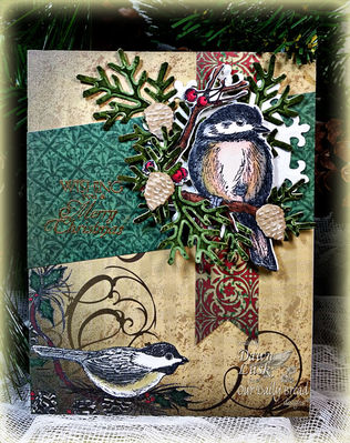 ODBD Products: You Will Find Refuge, Holly Wreath, ODBD Christmas Paper Collection 2013, ODBD Custom Fancy Foliage Die, ODBD Custom Chickadee Die
